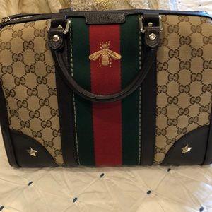 Gucci bee bowler bag and wallet